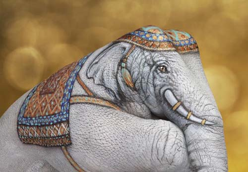 hand painting art Elephant White on Gold
