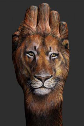 hand painting art  lion