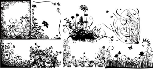 floral and swirl vectors