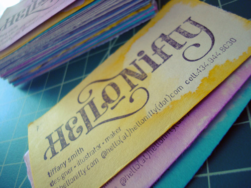 big typography business cards